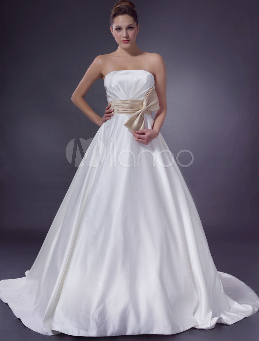 A-Line Strapless Waist Ribbon Chapel Train Satin Wedding Dress