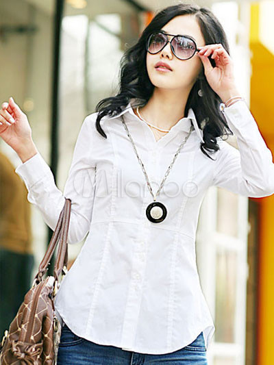 Casual White Turndown Collar Long Sleeves Cotton Shirt