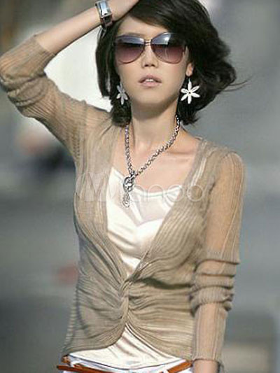 Dazzling Two-Piece Semi-Transparent Coffee Long Sleeves Elastic Fabric Shirt