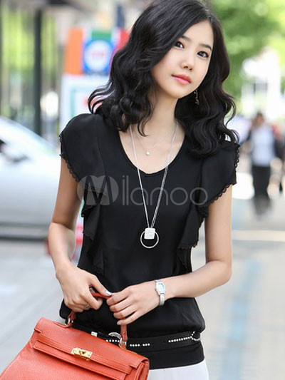 Elegant Black Short Sleeves Ruffles Wrinkled Satin Shirt