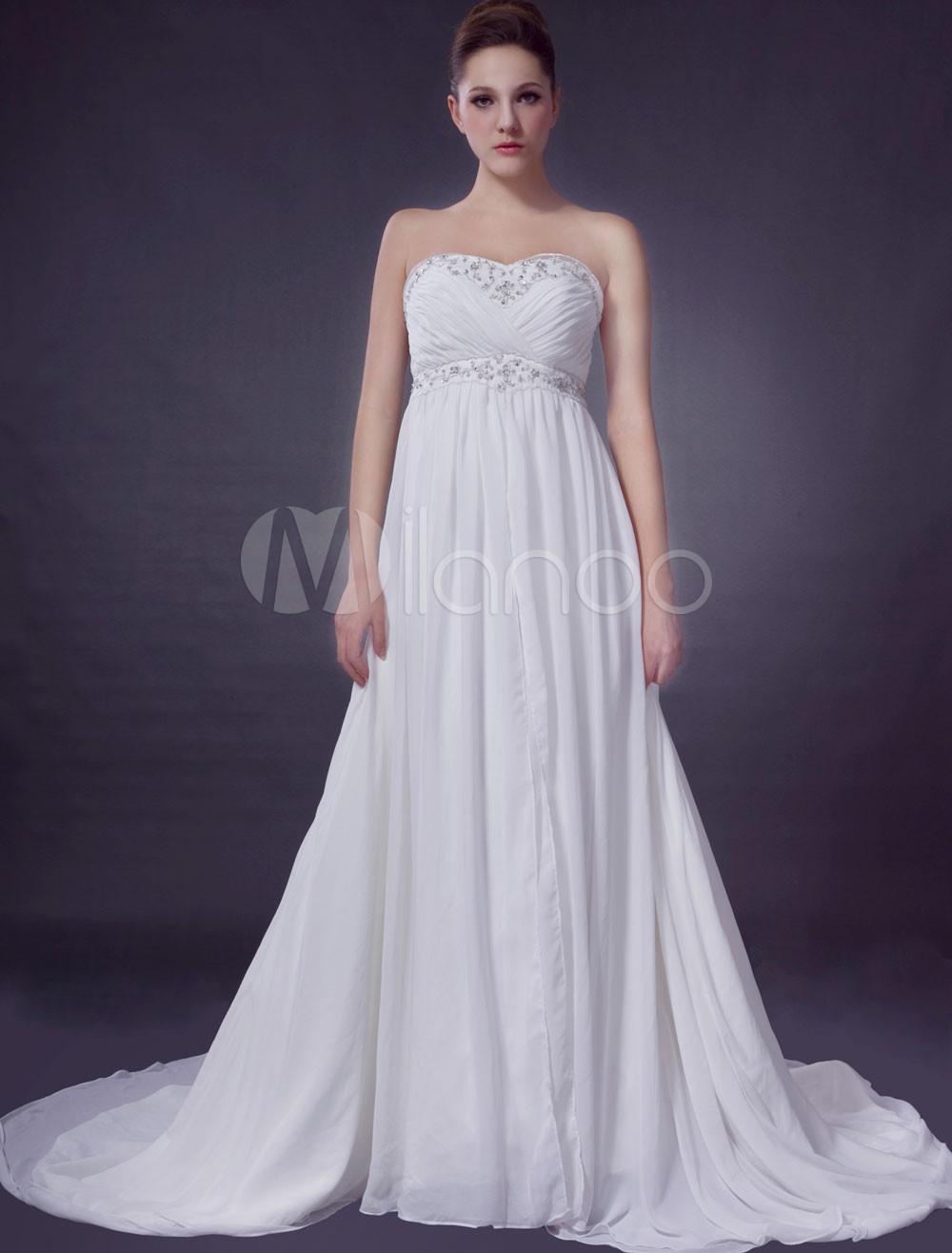 Euro style ivory empire waist sweetheart beading chiffon for Ivory empire waist wedding dress