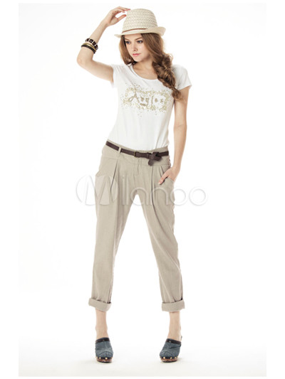 beige linen pants womens - Pi Pants