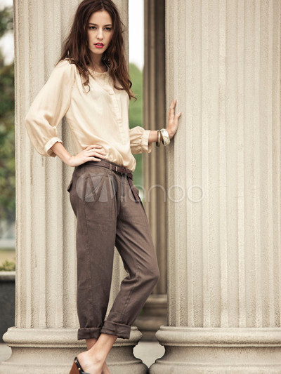 Fashion Light Beige Cotton Linen Women's Pants - Milanoo.com