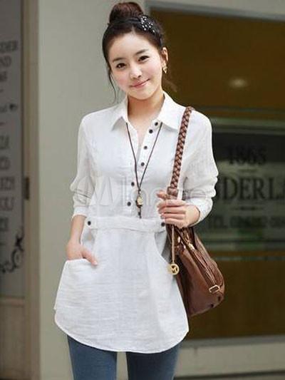 Figuring White Turndown Collar Long Sleeve Cotton Shirt - Milanoo.com