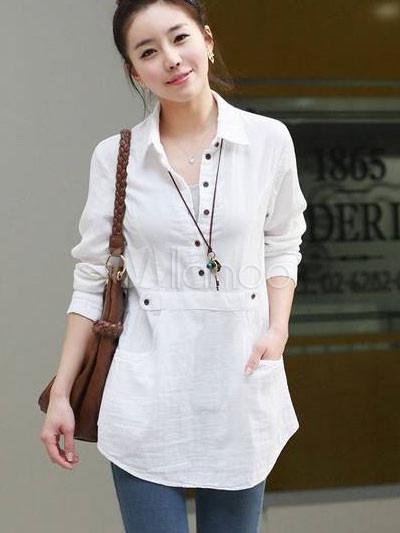 White Cotton Shirts For Ladies - Greek T Shirts