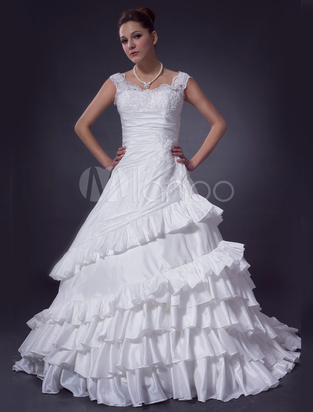 Ivory Ball Gown Off-The-Shoulder Taffeta Wedding Dress