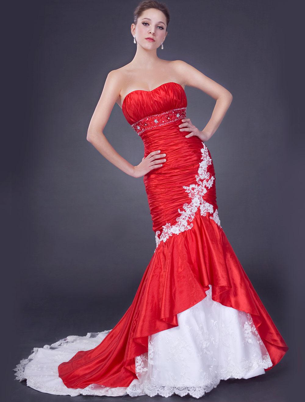 red sweetheart mermaid taffeta wedding dress p red wedding dress