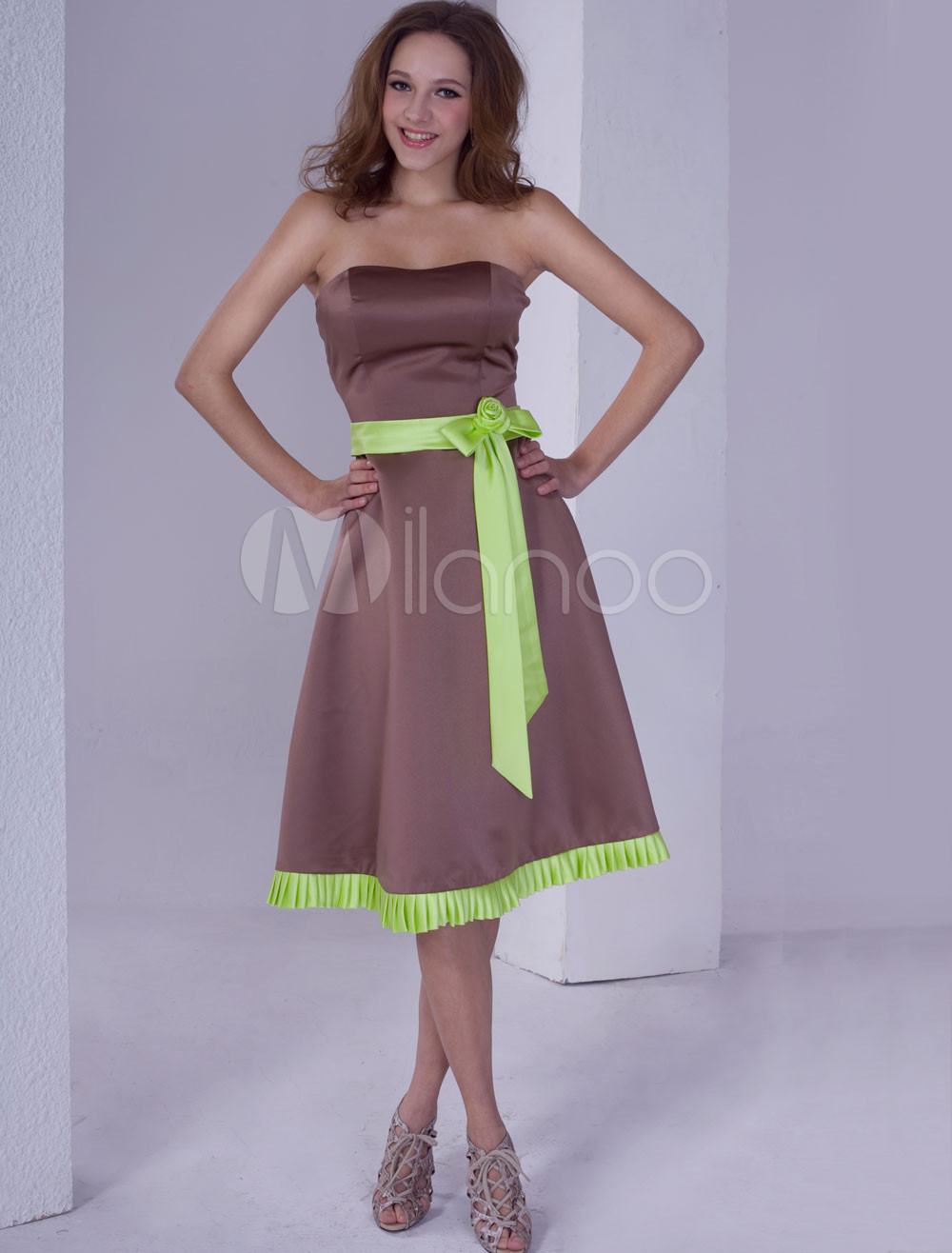 Cute Strapless Sash Satin Bridesmaid Dress