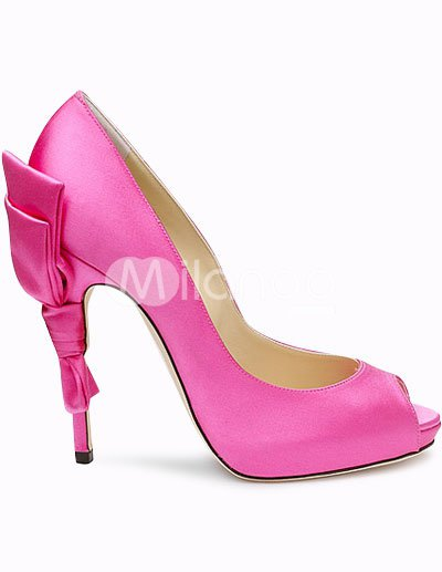 Fashion Shoes on Heel 4 5   Platform Peep Toe Bow Satin Fashion Shoes   Milanoo Com