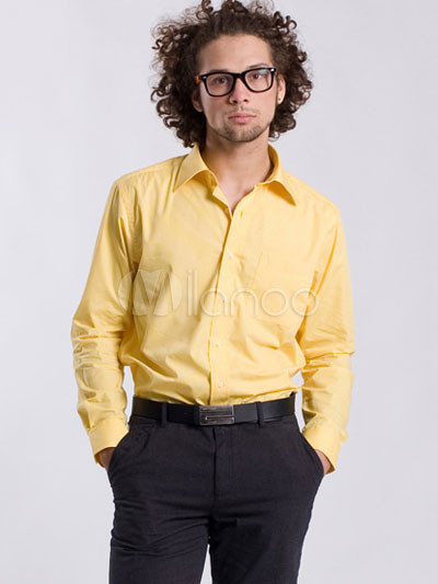 Yellow Long Sleeves Cotton Terylene Men's Dress Shirt