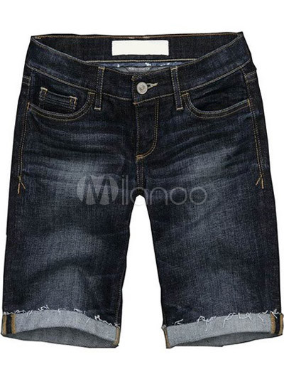 Blue Cotton Women's Short Pants - Milanoo.com