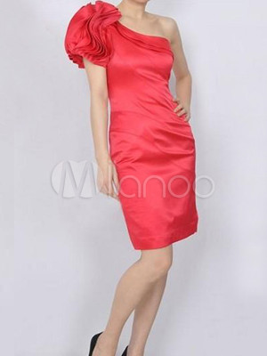 Graceful Fuchsia 94% Silk 6% Polyester One-Shoulder Dress For Ladies