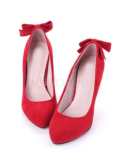 Women Fashion Shoes on Red Patent Leather Bow High Heel Womens Fashion Shoes   Milanoo Com