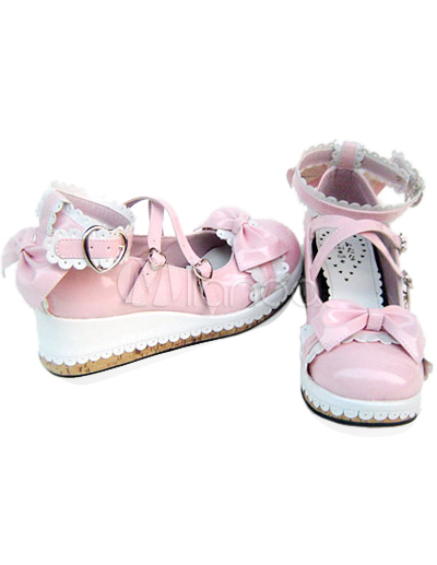Pink  White Saddle Shoes on Lovely Pink And White 2   Heel Round Toe Ankle Straps Buckle Bow Pu
