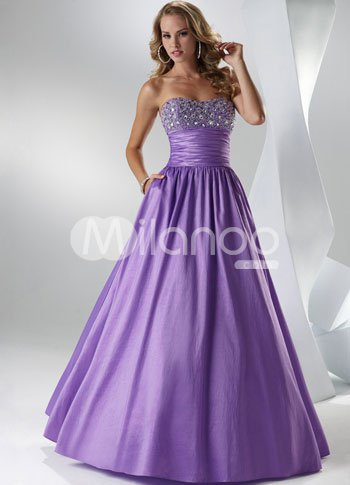 Purple Stretch Satin Strapless Beaded Floor Length Prom Dress