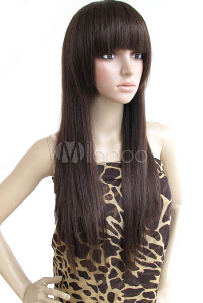 60cm Deep Brown Human Hair Womens Long Fashion Wig