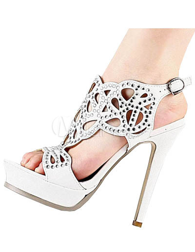 Beautiful White 5&39&39 High Heel 1 2/5&39&39 Platform Hollow Out PU