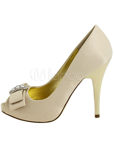 Prom Shoe on Heel 4 5  Platform Peep Toe Satin Fashion Prom Shoes   Milanoo Com