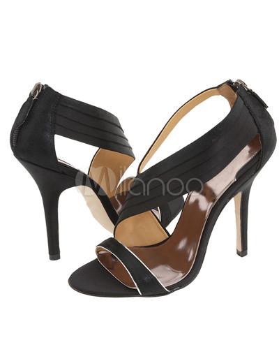 Evening Shoes on Black 3 9 10   High Heel Satin Evening Shoes   Milanoo Com