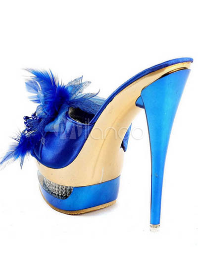 Shoe Fashion on Blue Satin 5 1 2   High Heel Platform Fashion Shoes   Milanoo Com