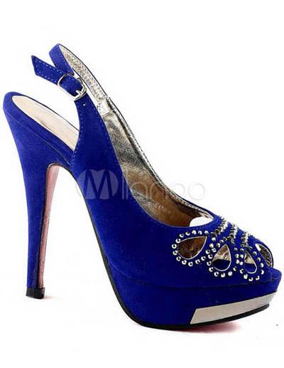 blue suede 4 3 4 high heel fashion shoes milanoo