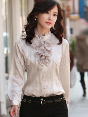 Повседневный Белый шелковый атлас женская блузка.
