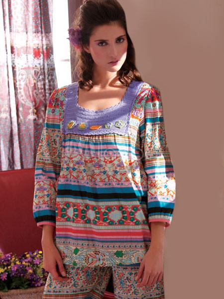 cool purple 100 baumwolle blumen pyjama sets f r damen. Black Bedroom Furniture Sets. Home Design Ideas