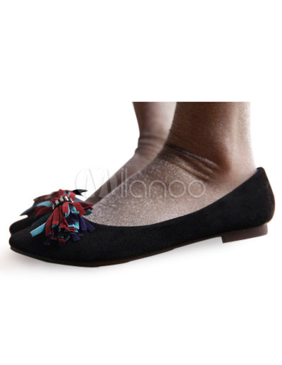 Pointed Flat Shoes on Cute Black Pointed Toe Flat Suede Fashion Shoes For Woman   Milanoo