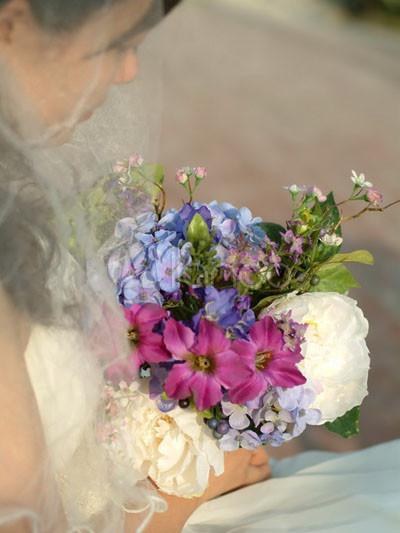 Elegant Purple Silk Flower Peony Morning Glory Wedding Silk Flower Bouquet