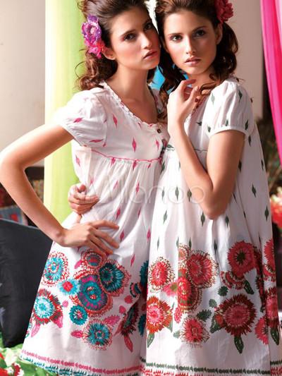 Gorgeous Red 100% Cotton Round Neck Short Sleeve Ladies House ...