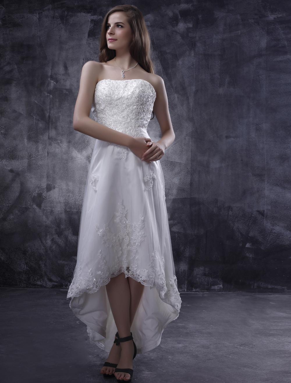 short wedding dresses 2018 lace strapless beaded Asymmetrical White summer beach Bridal Dress (Cheap Wedding Dress) photo