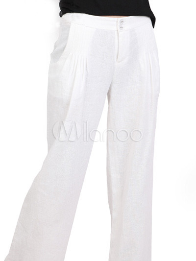 Loose Good Quality White Cotton Women's Pants - Milanoo.com