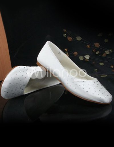 Lovely Ivory Satin Rhinestone Flat Wedding Shoes 3799 Store Milanoo