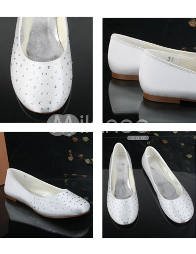 Lovely Ivory Satin Rhinestone Flat Wedding Shoes