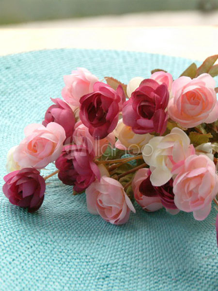 Pink Beige Cloth Roses 33cm Wedding Flower Arrangement