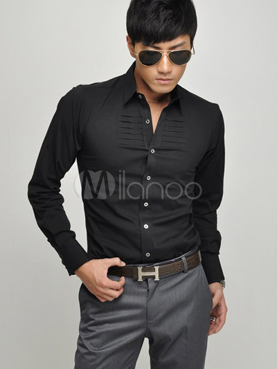Popular Glamorous Formal Black 100% Cotton Long Sleeves Mens Shirt