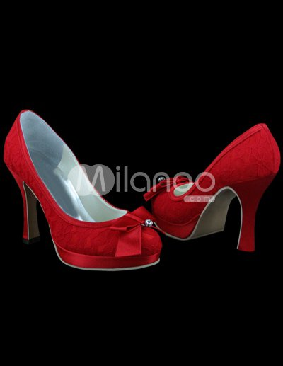 Ivory Lace Wedding Shoes on Pretty Red Satin Lace Bow 3 9 10    High Heel Wedding Shoes
