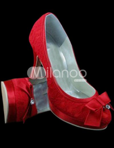 Heel Wedding Shoe on Red Satin Lace Bow 3 9 10   High Heel Wedding Shoes   Milanoo Com