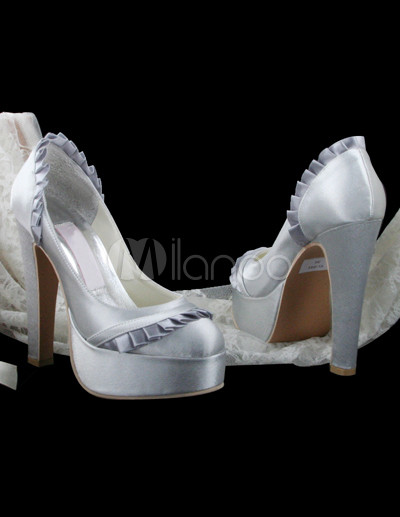Sexy Silver Satin Pleated 4 9 10 39 39 High Heel Platform Wedding Shoes