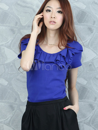 Sweet Royal Blue Cotton Spandex Short Sleeves Womens Shirt ...