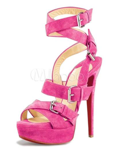 Milanoo UK  Trendy Fuchsia 5 1/2'' High Heel Platform Sheep Jing Fashion Shoes