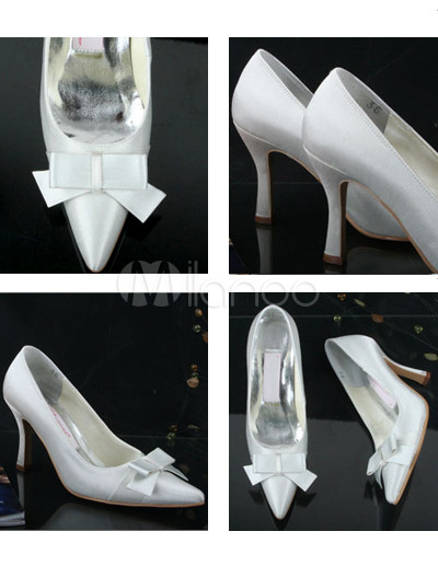 Vintage Ivory Satin Bow 3 1 2 39 39 High Heel Wedding Shoes