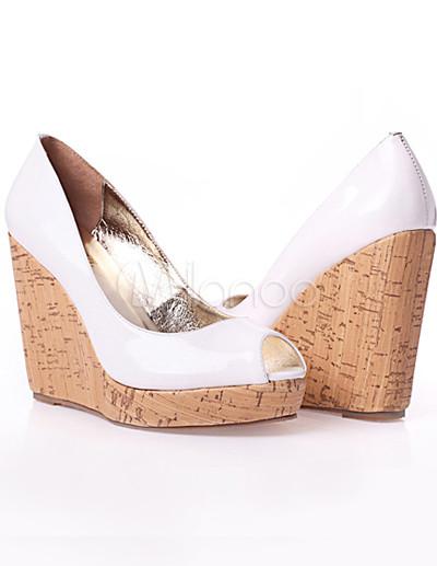 White 4 3/10'' High Heel Peep Toe Wedge Patent Leather Fashion ...