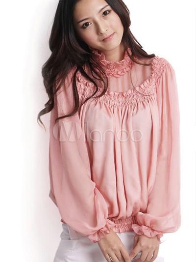 Women'S Clothing Chiffon Pink Blouse 83