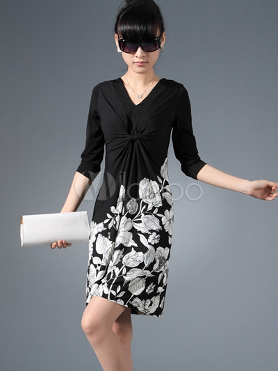 Modern Western Black White Flowers Half Sleeves Meryl Knitting ...