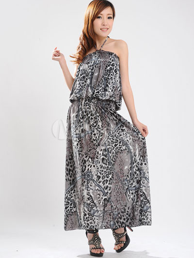 Attractive Gray Halter Floral Cotton Polyester Womens Maxi Dress