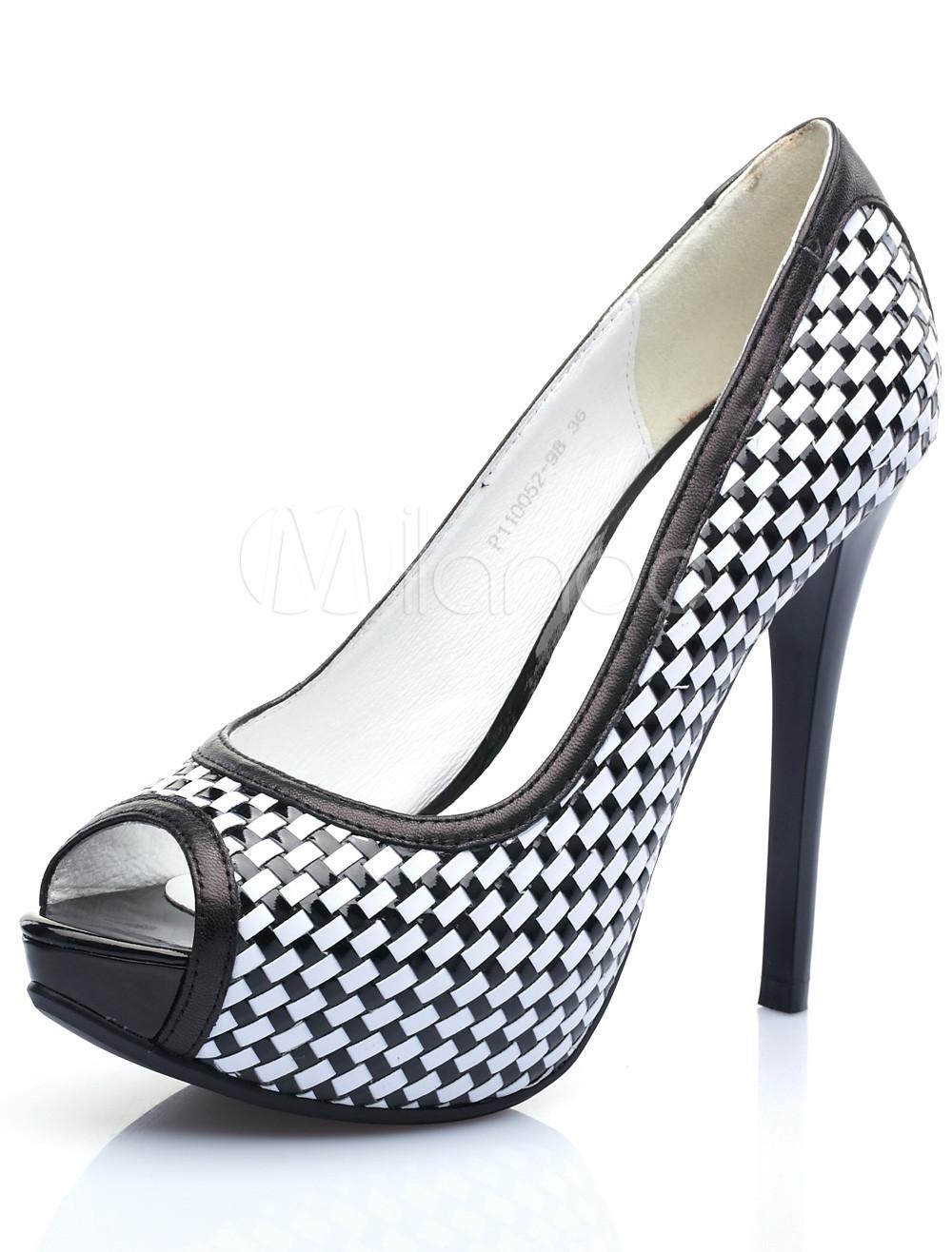 schwarz weiss schafsfell peep zeh 3 39 39 high heel pumps damen. Black Bedroom Furniture Sets. Home Design Ideas