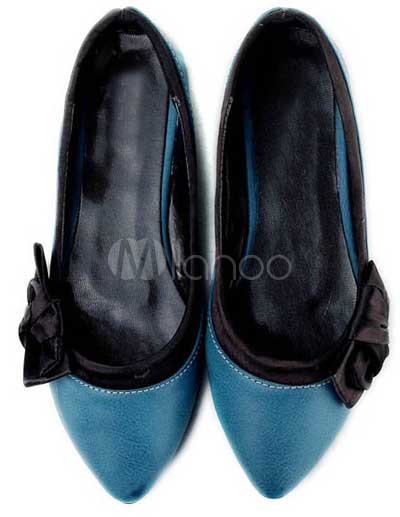 Pointed Flat Shoes on Comfortable Blue Pu Pointed Toe Flat Shoes For Women   Milanoo Com