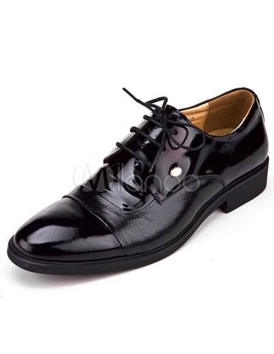 Mens Dress Shoes Style on Cool Black Cowhide And Pigskin Lace Up Mens Dress Shoes   Milanoo Com