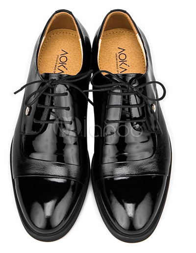 Dress Shoes on Cool Black Cowhide And Pigskin Lace Up Mens Dress Shoes   Milanoo Com